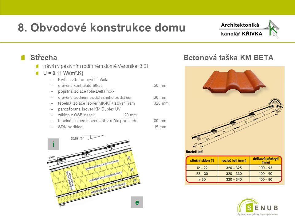 8. Obvodové konstrukce domu StřechaBetonová taška KM BETA návrh v pasivním rodinném domě Veronika 3.01 U = 0,11 W/(m 2.K) –Krytina z betonových tašek