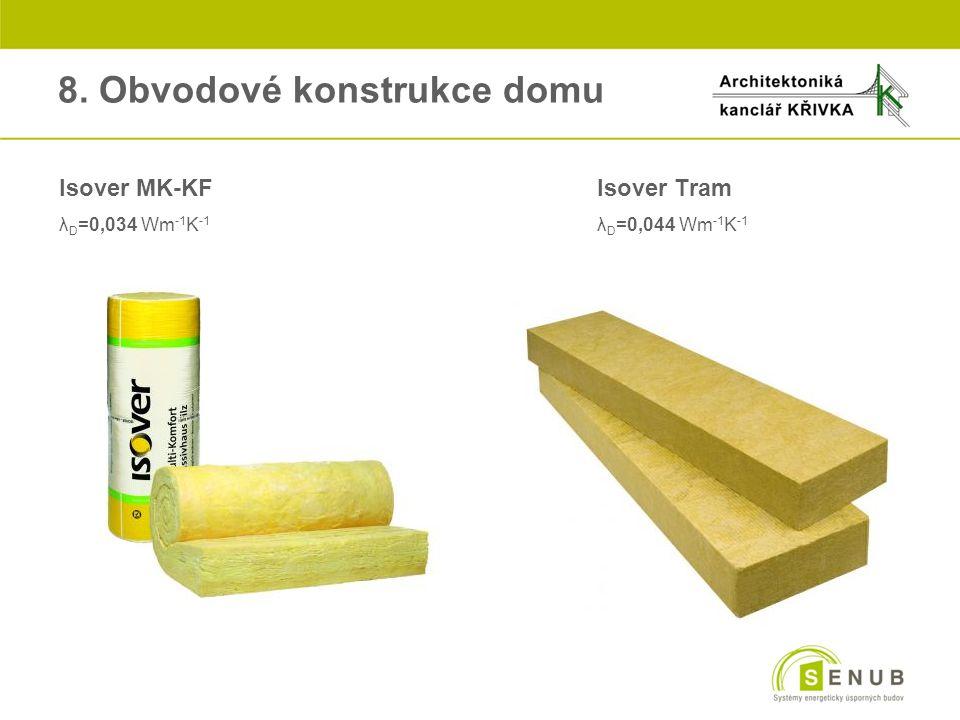 8. Obvodové konstrukce domu Isover MK-KFIsover Tram λ D =0,034 Wm -1 K -1 λ D =0,044 Wm -1 K -1