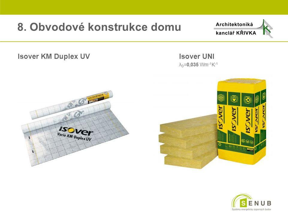 8. Obvodové konstrukce domu Isover KM Duplex UVIsover UNI λ D =0,035 Wm -1 K -1