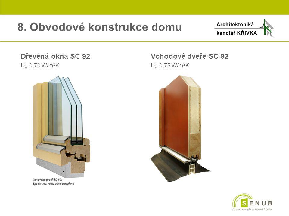 Dřevěná okna SC 92 Vchodové dveře SC 92 U w 0,70 W/m 2 KU w 0,75 W/m 2 K 8. Obvodové konstrukce domu