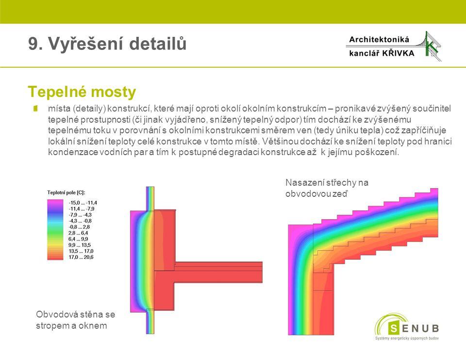 oTepelné mosty místa (detaily) konstrukcí, které mají oproti okolí okolním konstrukcím – pronikavé zvýšený součinitel tepelné prostupnosti (či jinak v