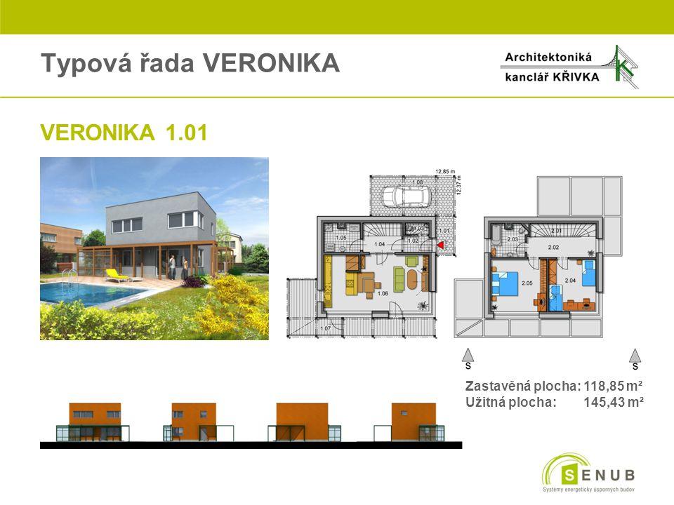 Typová řada VERONIKA oVERONIKA 1.01 Zastavěná plocha: 118,85 m² Užitná plocha: 145,43 m²