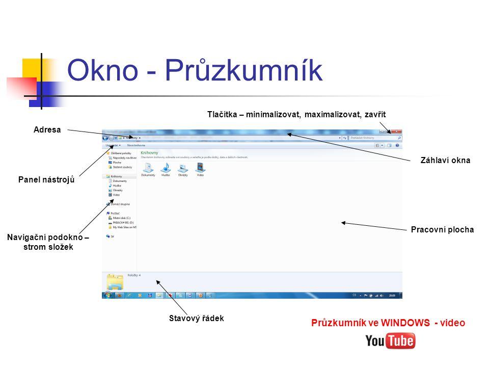 Okno - Průzkumník Tlačítka – minimalizovat, maximalizovat, zavřít Panel nástrojů Pracovní plocha Záhlaví okna Navigační podokno – strom složek Stavový řádek Adresa Průzkumník ve WINDOWS - video