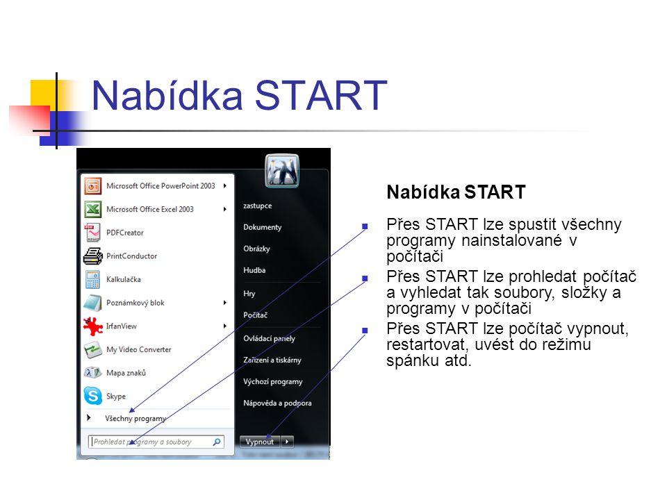 Nabídka START  Přes START lze spustit všechny programy nainstalované v počítači  Přes START lze prohledat počítač a vyhledat tak soubory, složky a programy v počítači  Přes START lze počítač vypnout, restartovat, uvést do režimu spánku atd.