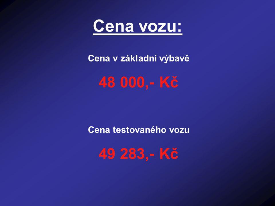 Cena vozu: Cena v základní výbavě 48 000,- Kč Cena testovaného vozu 49 283,- Kč