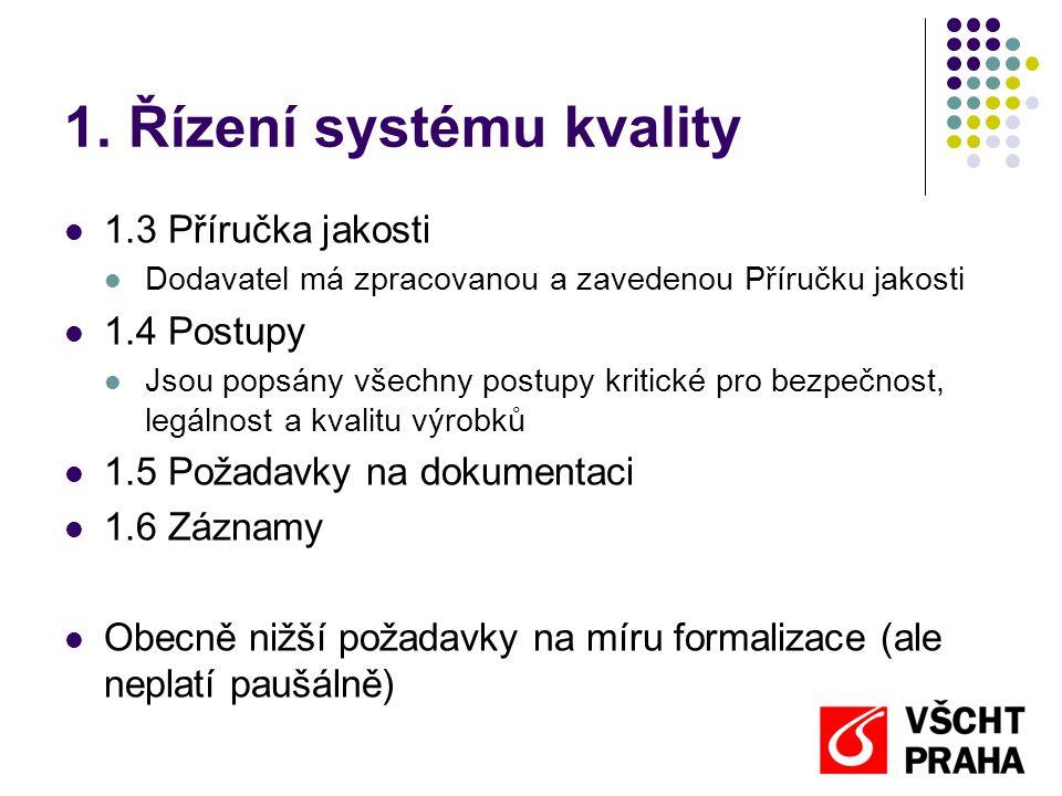 1. Řízení systému kvality  1.3 Příručka jakosti  Dodavatel má zpracovanou a zavedenou Příručku jakosti  1.4 Postupy  Jsou popsány všechny postupy