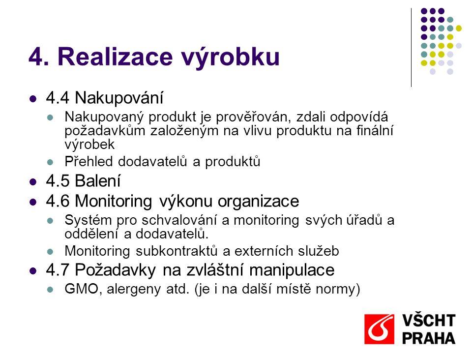 4. Realizace výrobku  4.4 Nakupování  Nakupovaný produkt je prověřován, zdali odpovídá požadavkům založeným na vlivu produktu na finální výrobek  P