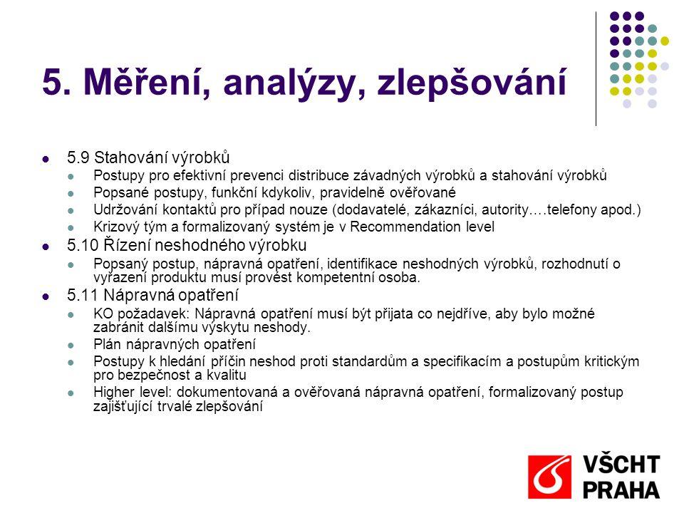5. Měření, analýzy, zlepšování  5.9 Stahování výrobků  Postupy pro efektivní prevenci distribuce závadných výrobků a stahování výrobků  Popsané pos