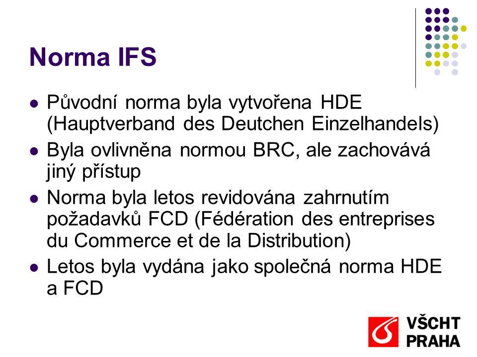 Norma IFS  Původní norma byla vytvořena HDE (Hauptverband des Deutchen Einzelhandels)  Byla ovlivněna normou BRC, ale zachovává jiný přístup  Norma