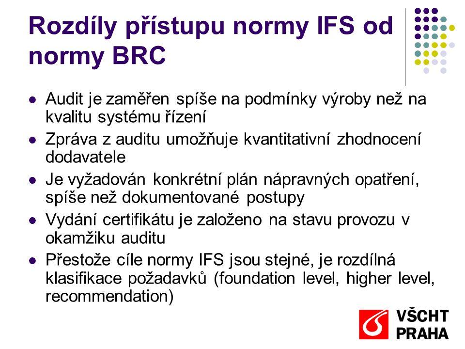 Rozdíly přístupu normy IFS od normy BRC  Audit je zaměřen spíše na podmínky výroby než na kvalitu systému řízení  Zpráva z auditu umožňuje kvantitat