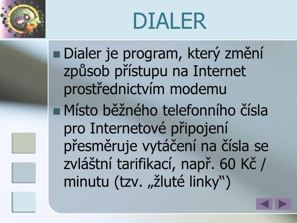 DIALER  Dialer je program, který změní způsob přístupu na Internet prostřednictvím modemu  Místo běžného telefonního čísla pro Internetové připojení
