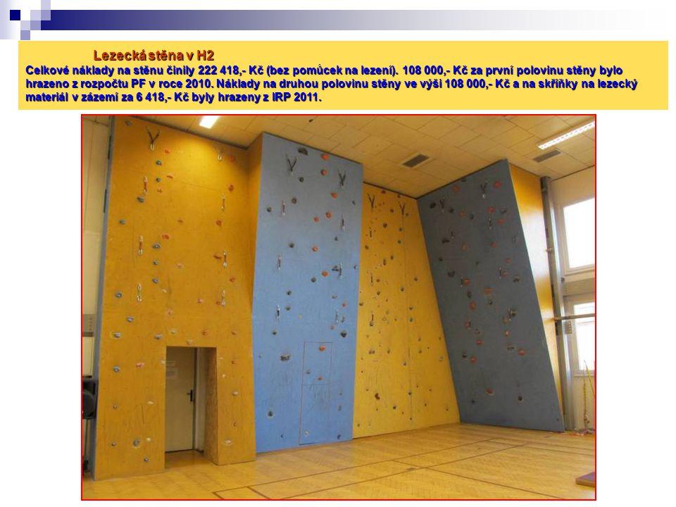 Lezecká stěna v H2 Celkové náklady na stěnu činily 222 418,- Kč (bez pomůcek na lezení). 108 000,- Kč za první polovinu stěny bylo hrazeno z rozpočtu