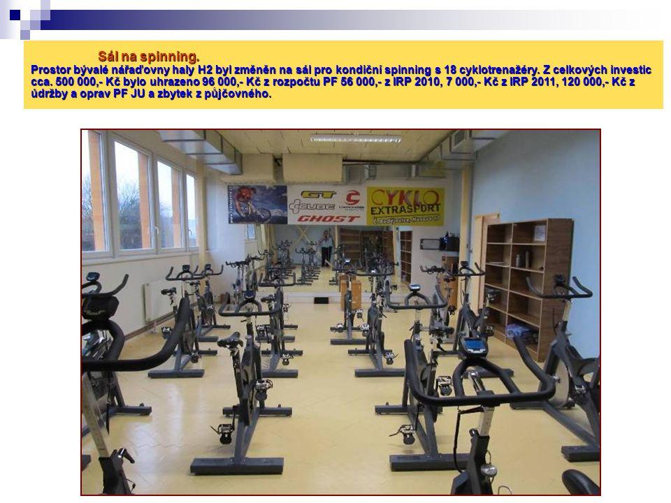 Sál na spinning. Prostor bývalé nářaďovny haly H2 byl změněn na sál pro kondiční spinning s 18 cyklotrenažéry. Z celkových investic cca. 500 000,- Kč