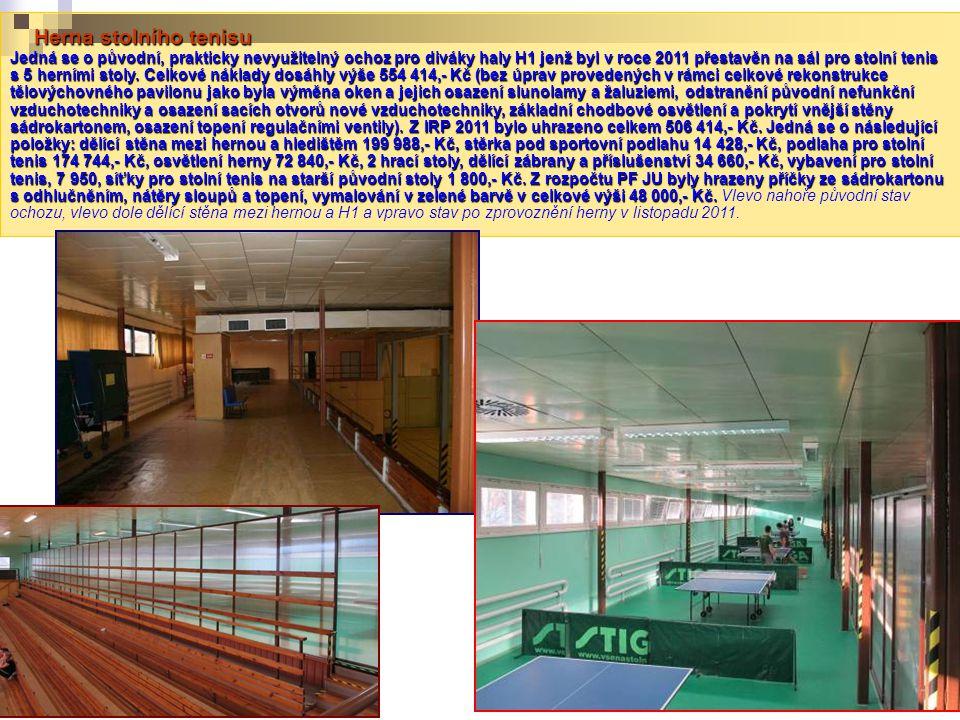Herna stolního tenisu Jedná se o původní, prakticky nevyužitelný ochoz pro diváky haly H1 jenž byl v roce 2011 přestavěn na sál pro stolní tenis s 5 h