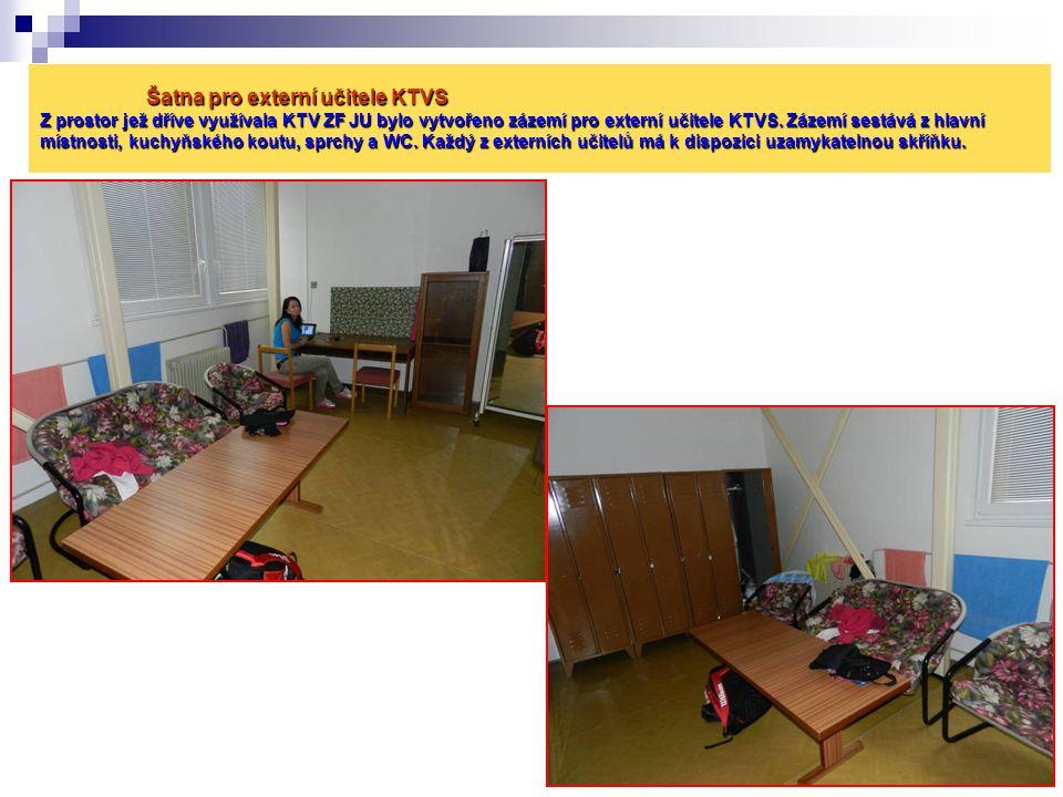 Šatna pro externí učitele KTVS Z prostor jež dříve využívala KTV ZF JU bylo vytvořeno zázemí pro externí učitele KTVS. Zázemí sestává z hlavní místnos