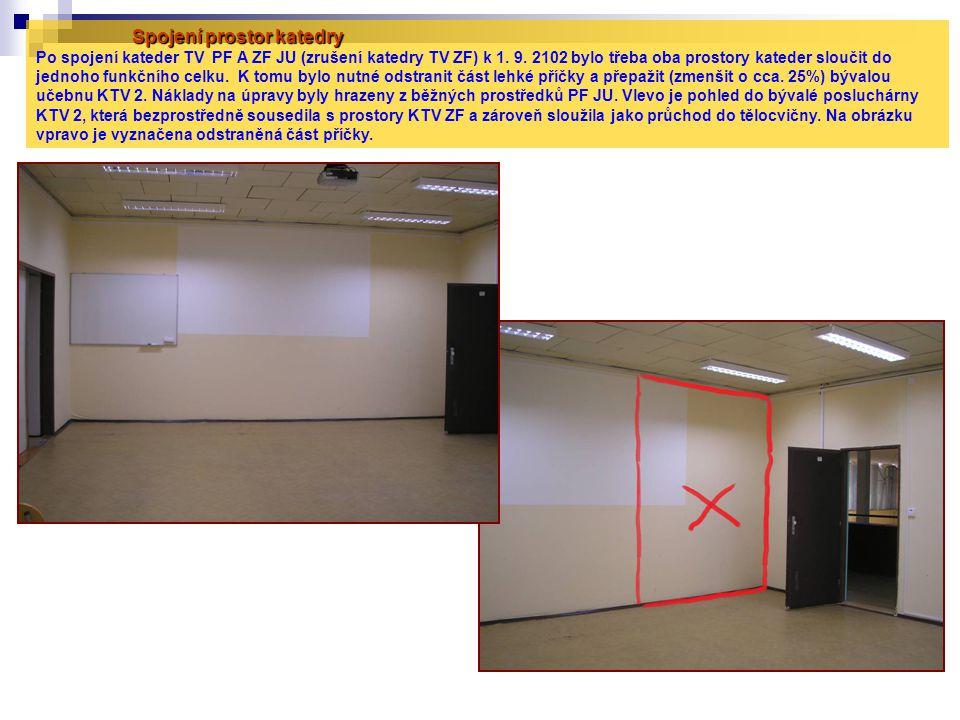 Spojení prostor katedry Spojení prostor katedry Po spojení kateder TV PF A ZF JU (zrušení katedry TV ZF) k 1. 9. 2102 bylo třeba oba prostory kateder
