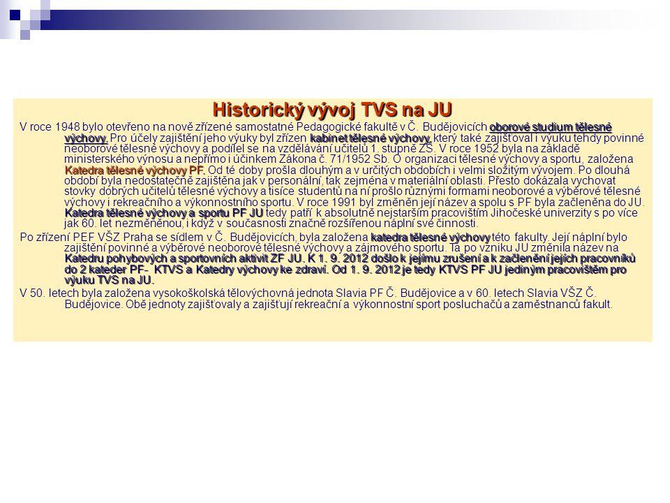 Historický vývoj TVS na JU oborové studium tělesné výchovy. kabinet tělesné výchovy, Katedra tělesné výchovy PF. Katedra tělesné výchovy a sportu PF J