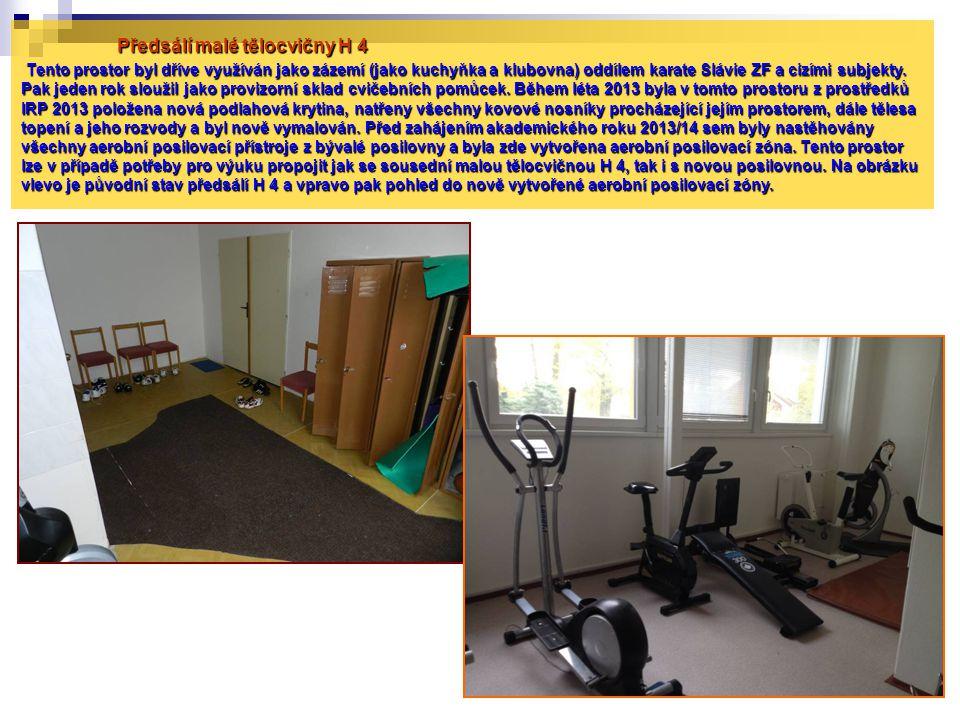 Předsálí malé tělocvičny H 4 Tento prostor byl dříve využíván jako zázemí (jako kuchyňka a klubovna) oddílem karate Slávie ZF a cizími subjekty. Pak j