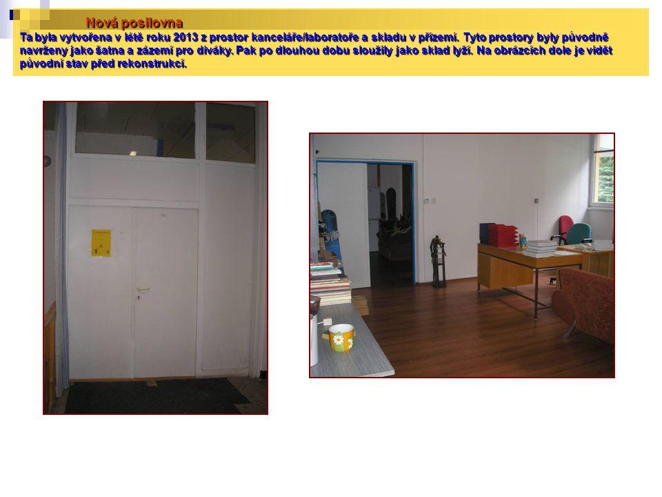 Nová posilovna Ta byla vytvořena v létě roku 2013 z prostor kanceláře/laboratoře a skladu v přízemí. Tyto prostory byly původně navrženy jako šatna a
