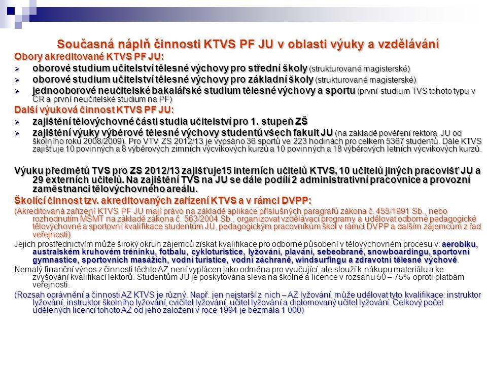 Současná náplň činnosti KTVS PF JU v oblasti výuky a vzdělávání Obory akreditované KTVS PF JU:  oborové studium učitelství tělesné výchovy pro středn