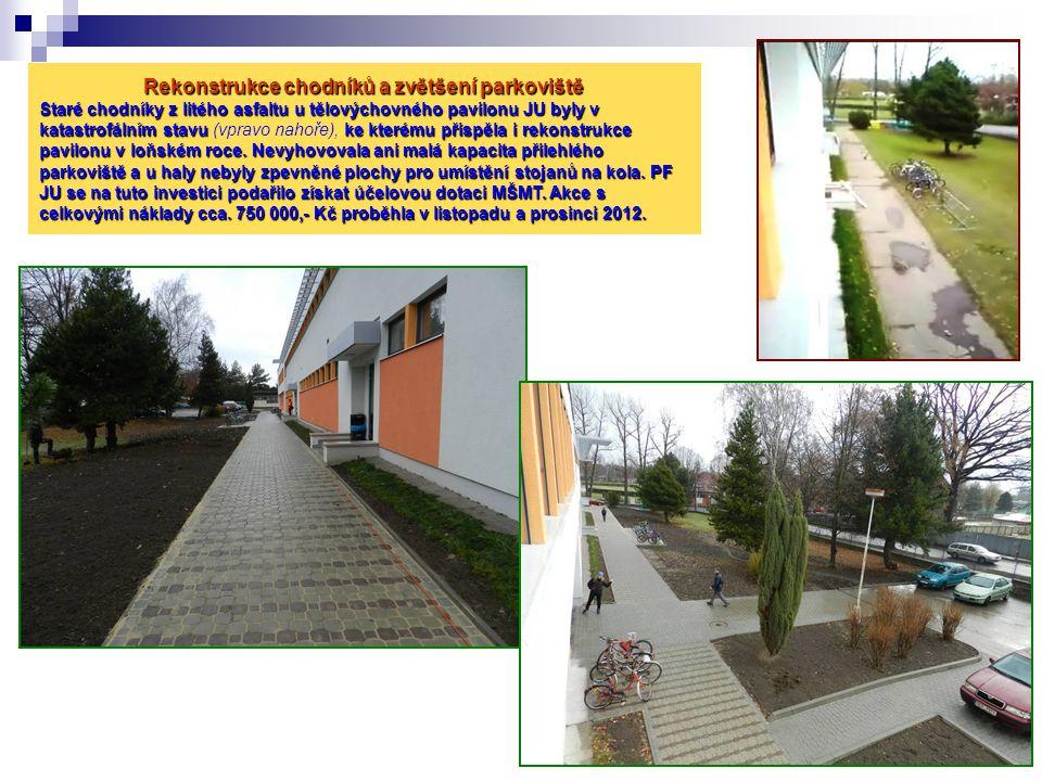Rekonstrukce chodníků a zvětšení parkoviště Staré chodníky z litého asfaltu u tělovýchovného pavilonu JU byly v katastrofálním stavu ke kterému přispě