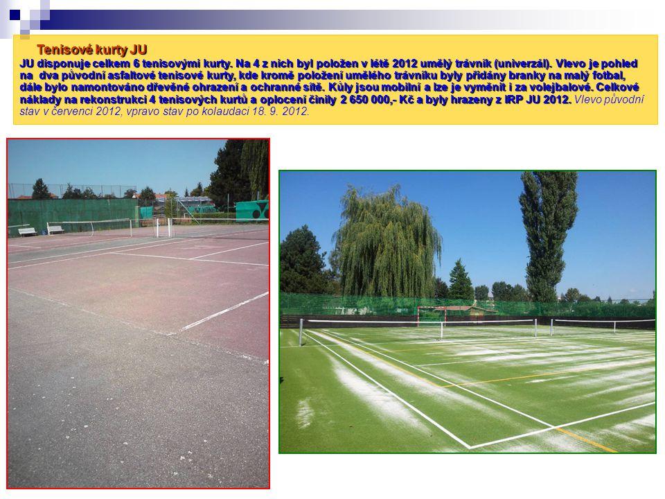 Tenisové kurty JU JU disponuje celkem 6 tenisovými kurty. Na 4 z nich byl položen v létě 2012 umělý trávník (univerzál). Vlevo je pohled na dva původn