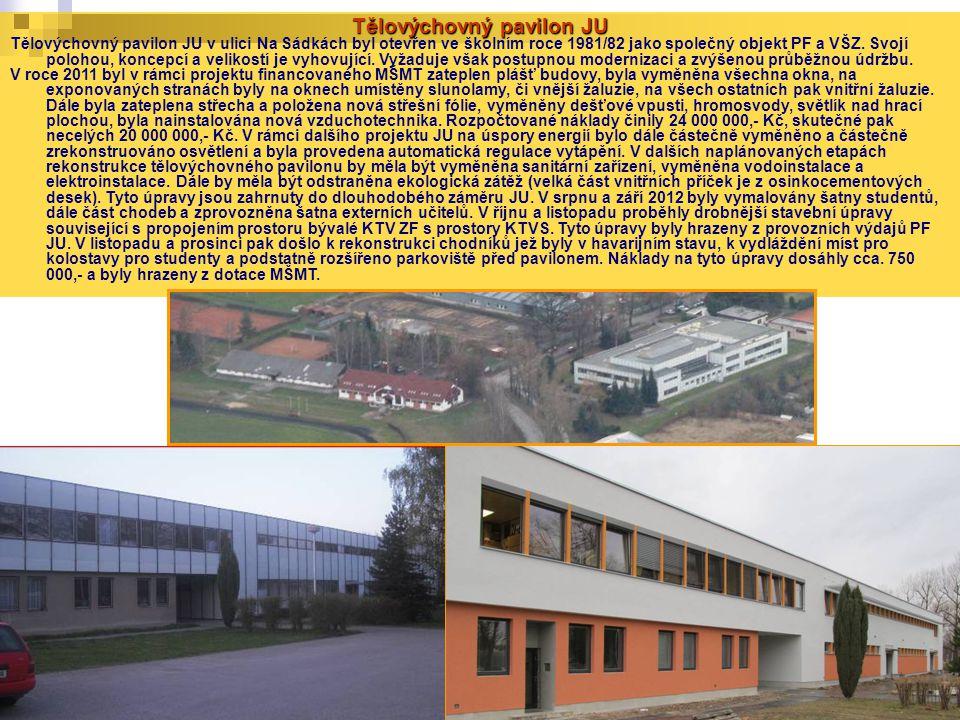 Tělovýchovný pavilon JU Tělovýchovný pavilon JU v ulici Na Sádkách byl otevřen ve školním roce 1981/82 jako společný objekt PF a VŠZ. Svojí polohou, k