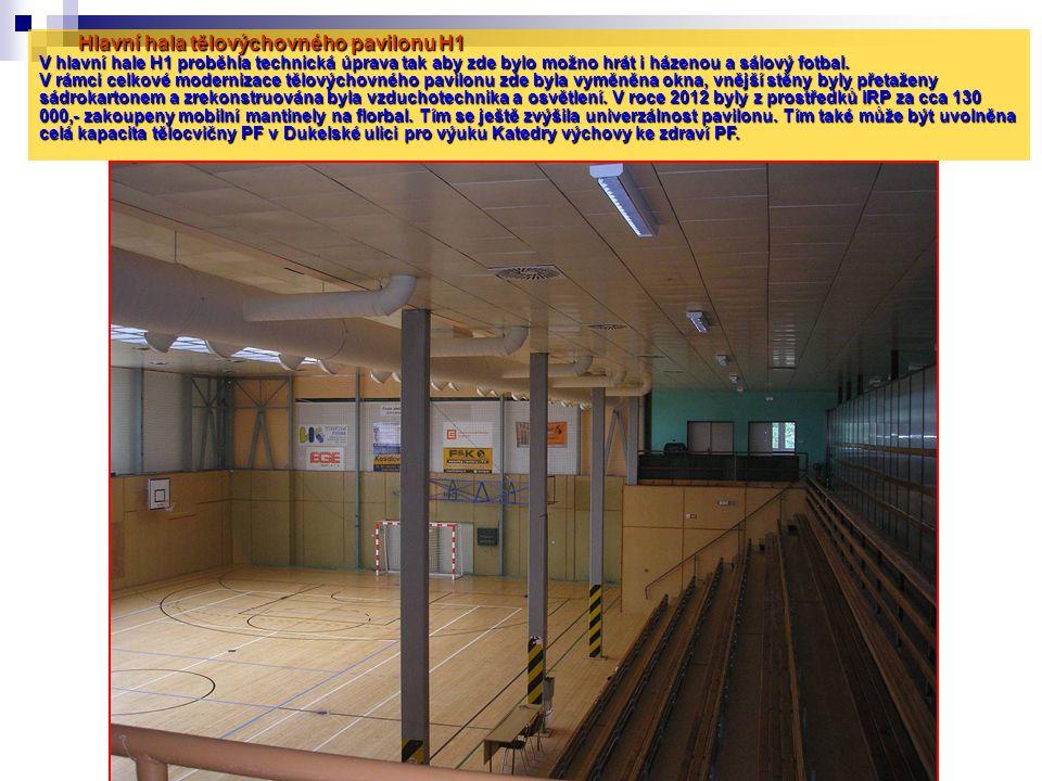 Hlavní hala tělovýchovného pavilonu H1 V hlavní hale H1 proběhla technická úprava tak aby zde bylo možno hrát i házenou a sálový fotbal. V rámci celko