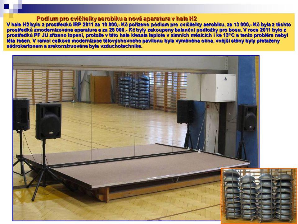 Podium pro cvičitelky aerobiku a nová aparatura v hale H2 V hale H2 bylo z prostředků IRP 2011 za 10 800,- Kč pořízeno pódium pro cvičitelky aerobiku,