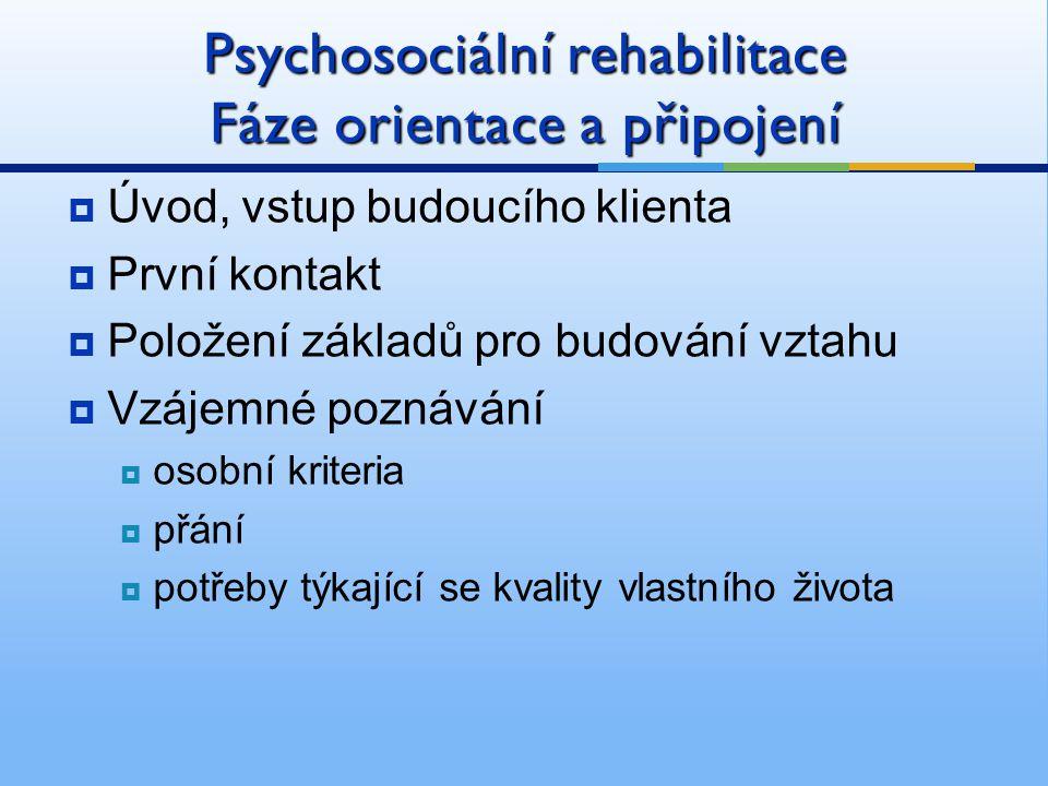 Psychosociální rehabilitace Fáze orientace a připojení  Úvod, vstup budoucího klienta  První kontakt  Položení základů pro budování vztahu  Vzájemné poznávání  osobní kriteria  přání  potřeby týkající se kvality vlastního života