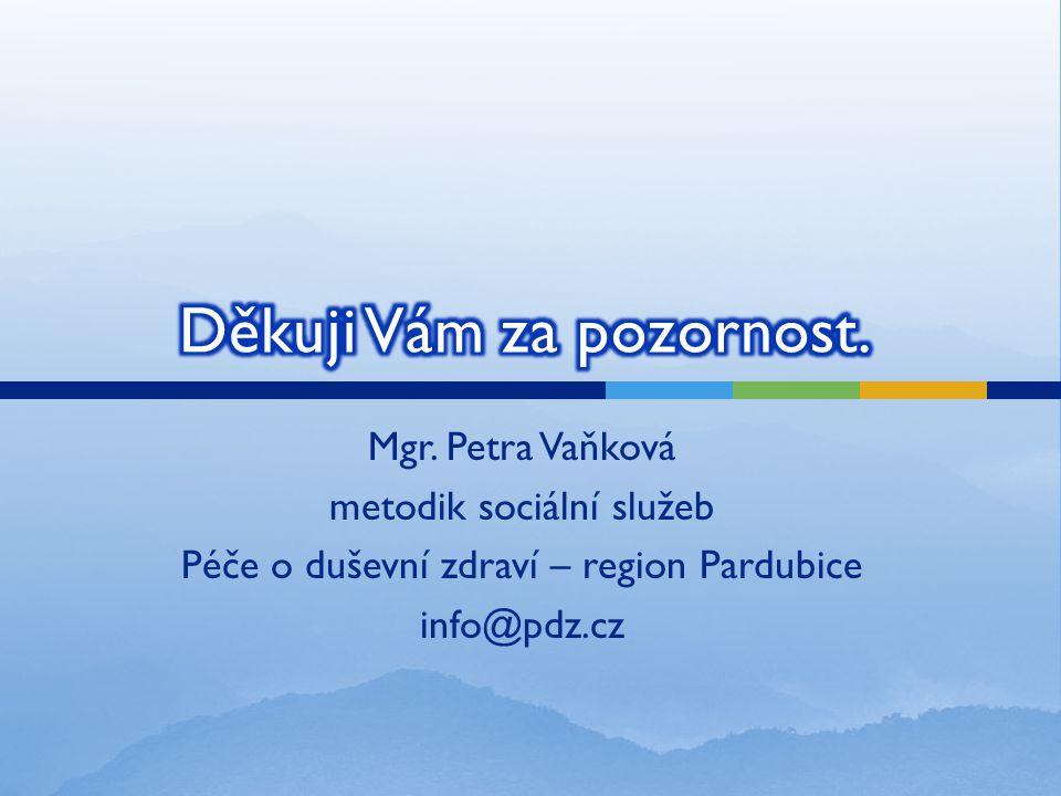 Mgr. Petra Vaňková metodik sociální služeb Péče o duševní zdraví – region Pardubice info@pdz.cz