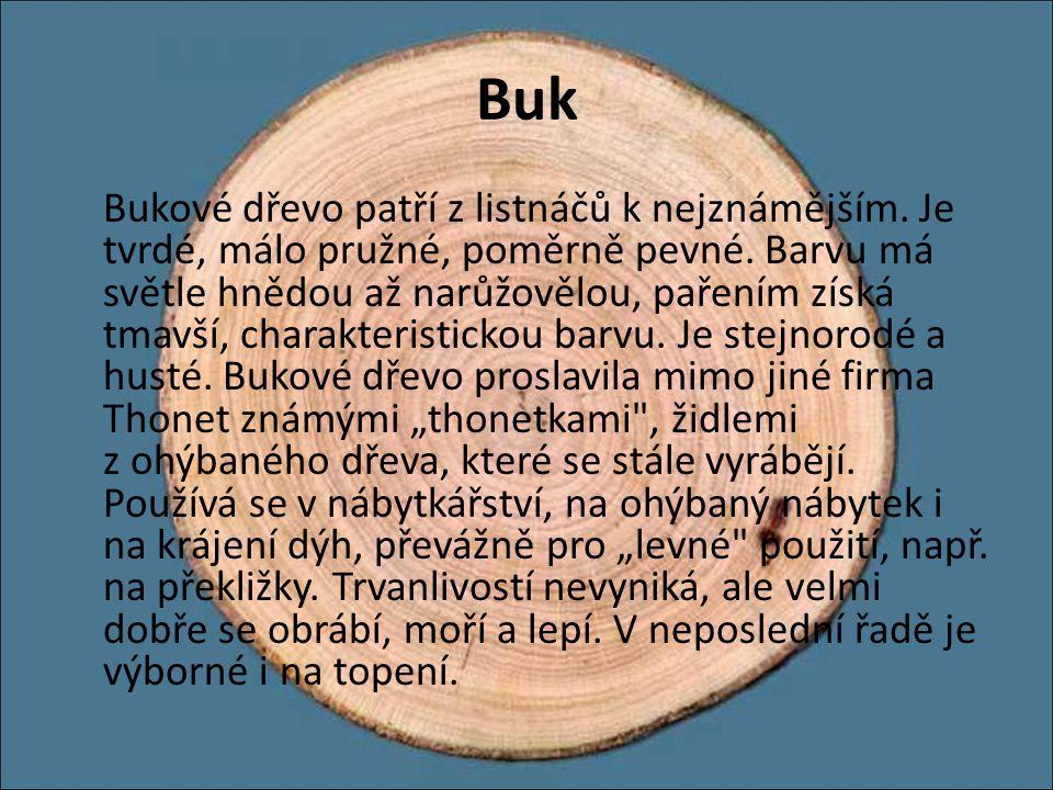 Buk Bukové dřevo patří z listnáčů k nejznámějším. Je tvrdé, málo pružné, poměrně pevné. Barvu má světle hnědou až narůžovělou, pařením získá tmavší, c