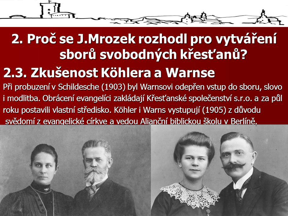 2.Proč se J.Mrozek rozhodl pro vytváření sborů svobodných křesťanů.