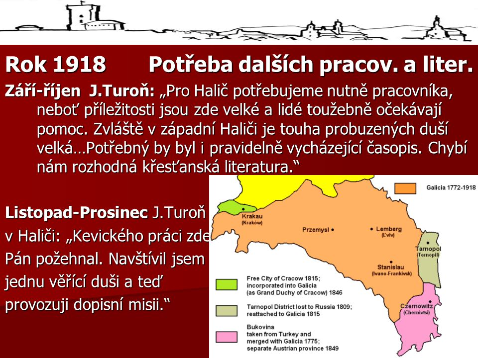 Rok 1918Potřeba dalších pracov.a liter.