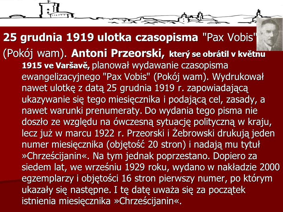 25 grudnia 1919 ulotka czasopisma Pax Vobis (Pokój wam).