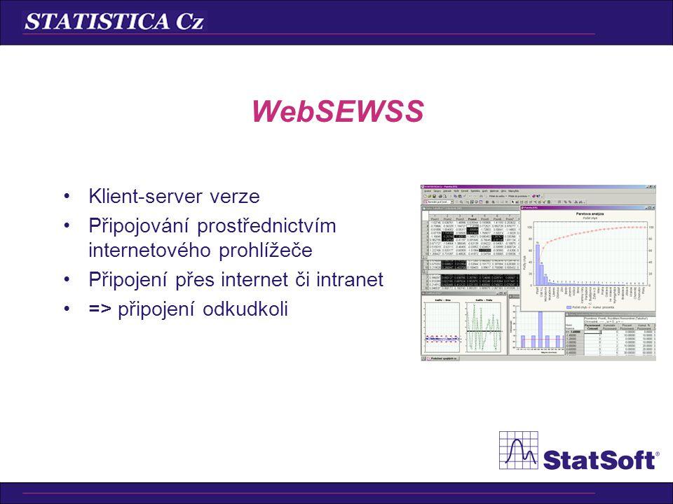 •Klient-server verze ostatních produktů •Využití i více procesorů a serverů •Internetový prohlížeč na klientské stanici •Práce přes internet WebSTATIS