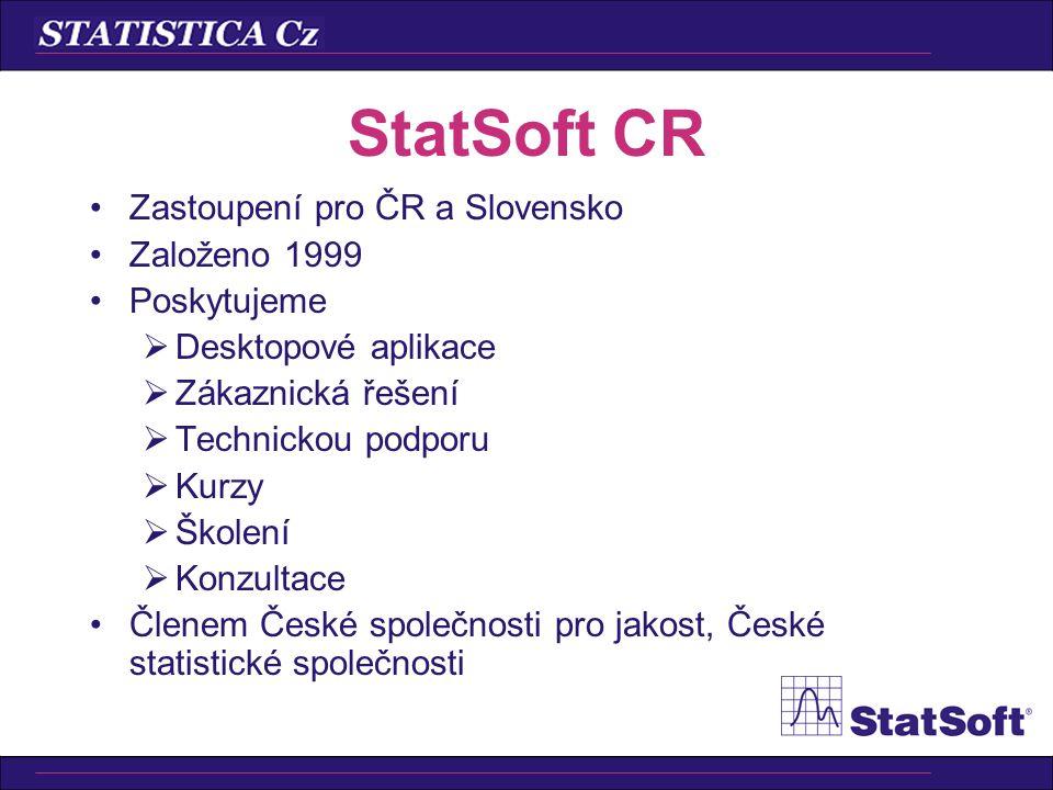 •Úplná sada grafických nástrojů STATISTICA •Pracuje s.xls,.txt,.htm, … •STATISTICA Query •STATISTICA Visual Basic •Popisné statistiky •t-testy •Lineární regrese •Neparametrická statistika •ANOVA •Kontingenční tabulky •… STATISTICA Base Cz