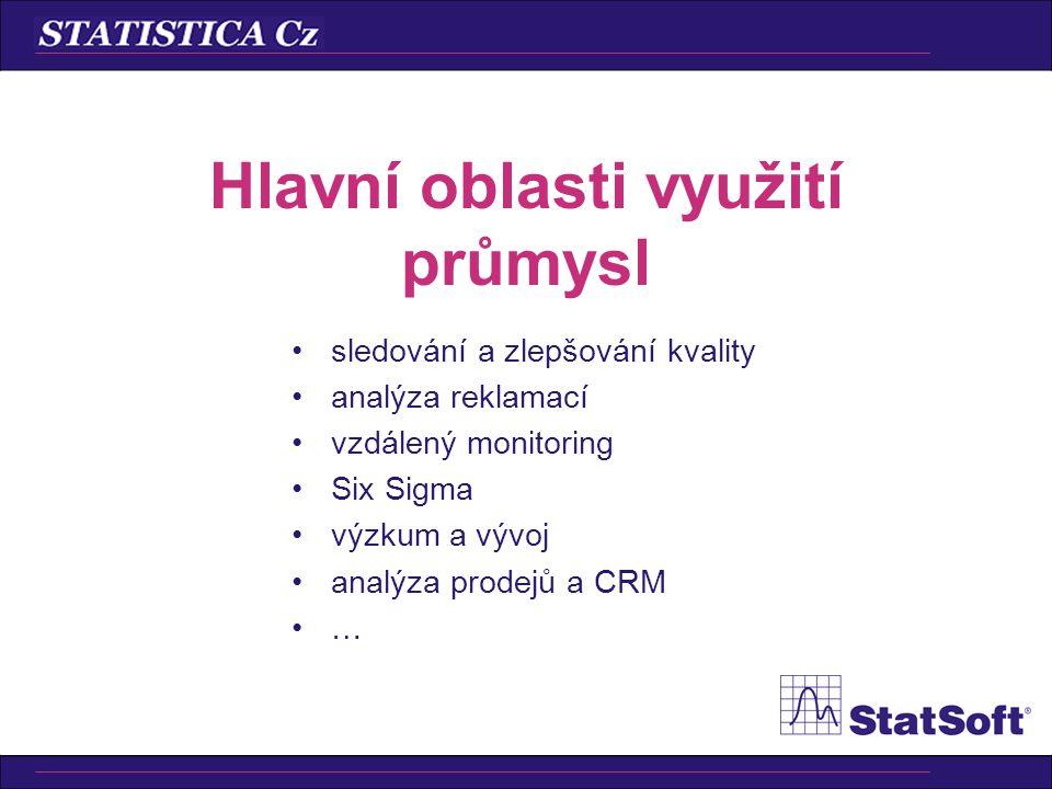 •sledování a zlepšování kvality •analýza reklamací •vzdálený monitoring •Six Sigma •výzkum a vývoj •analýza prodejů a CRM •… Hlavní oblasti využití průmysl