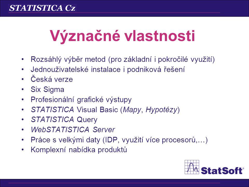 Význačné vlastnosti •Rozsáhlý výběr metod (pro základní i pokročilé využití) •Jednouživatelské instalace i podniková řešení •Česká verze •Six Sigma •Profesionální grafické výstupy •STATISTICA Visual Basic (Mapy, Hypotézy) •STATISTICA Query •WebSTATISTICA Server •Práce s velkými daty (IDP, využití více procesorů,…) •Komplexní nabídka produktů
