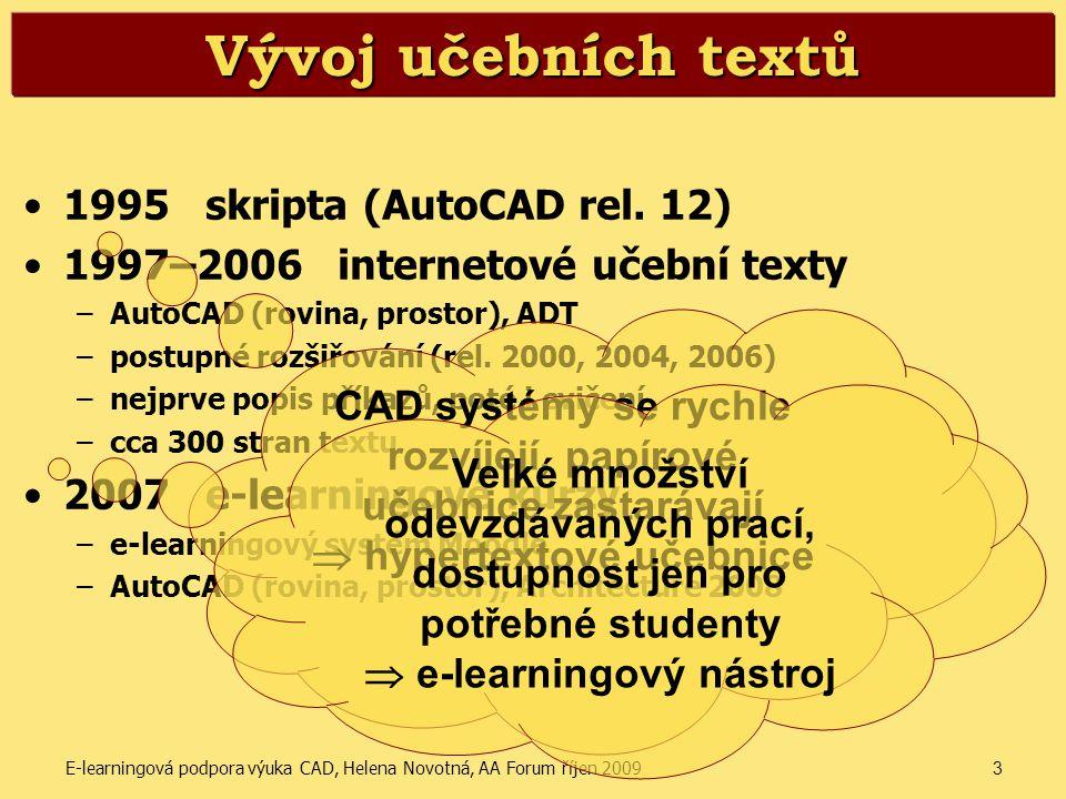 E-learningová podpora výuka CAD, Helena Novotná, AA Forum říjen 20093 Vývoj učebních textů •1995 skripta (AutoCAD rel. 12) •1997–2006 internetové učeb