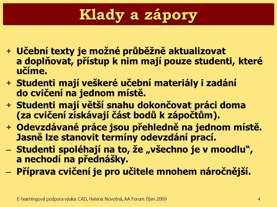 E-learningová podpora výuka CAD, Helena Novotná, AA Forum říjen 20094 Klady a zápory + Učební texty je možné průběžně aktualizovat a doplňovat, přístu
