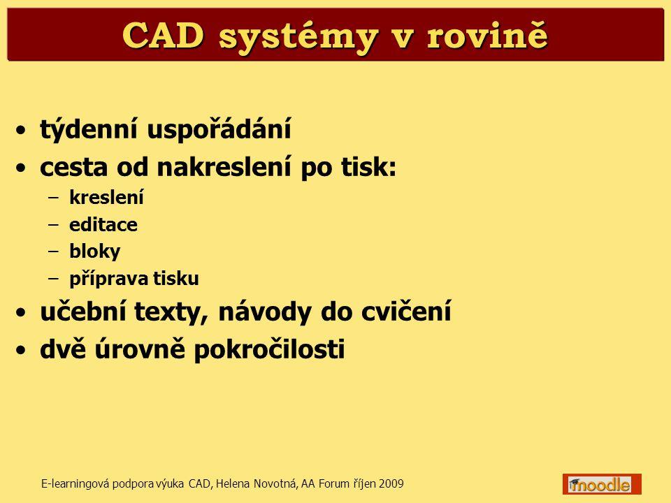 E-learningová podpora výuka CAD, Helena Novotná, AA Forum říjen 20096 Prostorové modelování •týdenní uspořádání •modelování a vizualizace v AutoCADu 2008 •učební texty (popis a vysvětlení příkazů) •návody do cvičení •odevzdávání průběžných prací a závěrečného projektu moodle