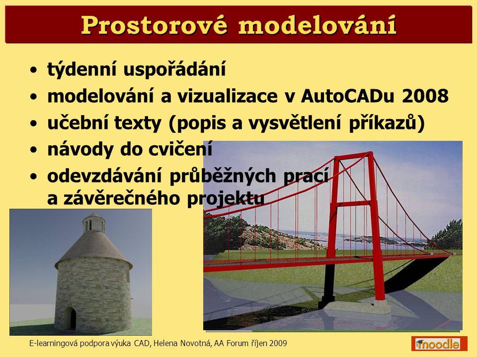 E-learningová podpora výuka CAD, Helena Novotná, AA Forum říjen 20096 Prostorové modelování •týdenní uspořádání •modelování a vizualizace v AutoCADu 2