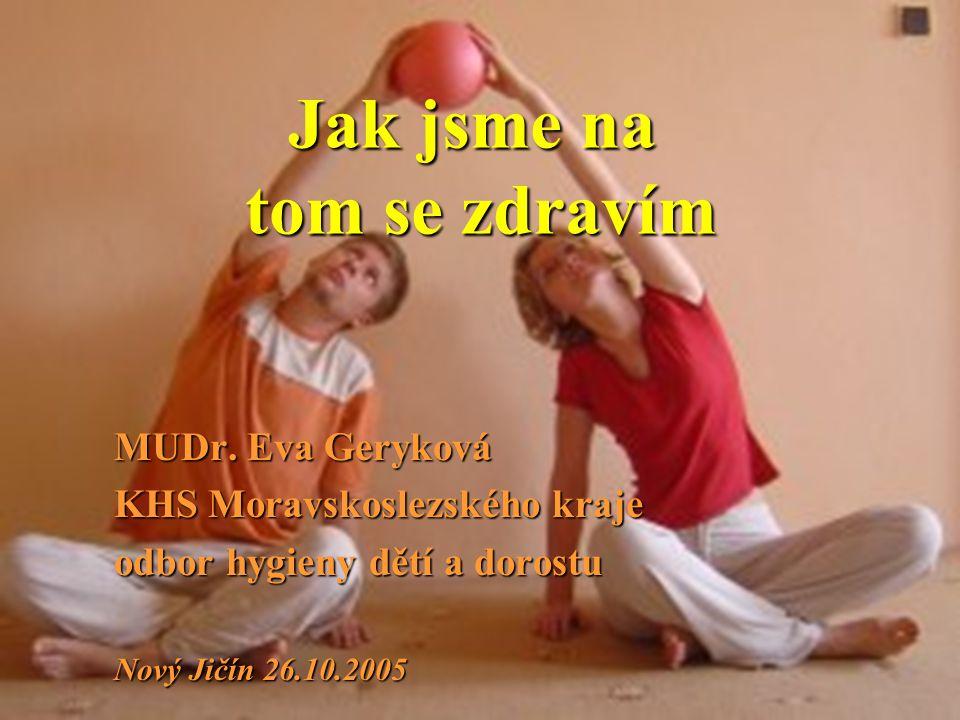 Jak jsme na tom se zdravím MUDr. Eva Geryková KHS Moravskoslezského kraje odbor hygieny dětí a dorostu Nový Jičín 26.10.2005