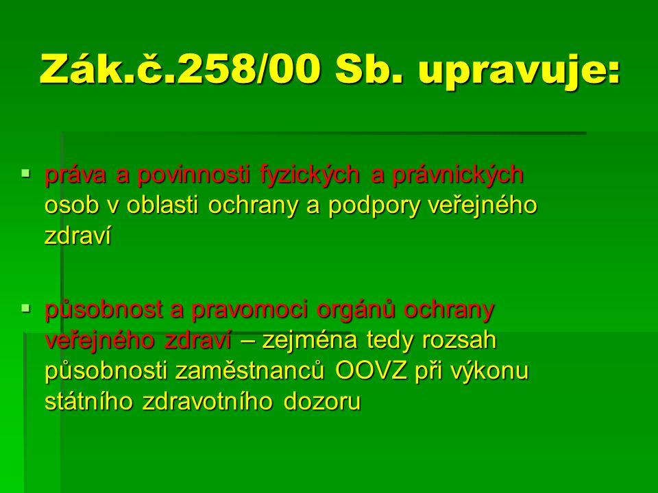 Zák.č.258/00 Sb. upravuje:  práva a povinnosti fyzických a právnických osob v oblasti ochrany a podpory veřejného zdraví  působnost a pravomoci orgá