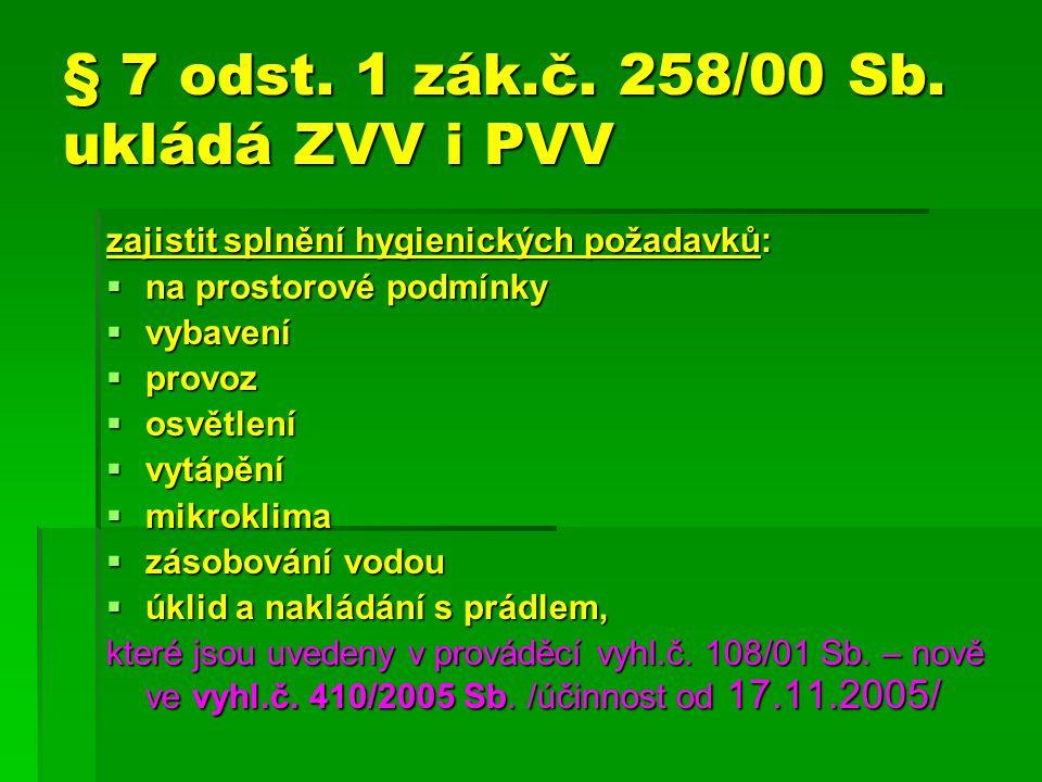 § 7 odst. 1 zák.č. 258/00 Sb. ukládá ZVV i PVV zajistit splnění hygienických požadavků:  na prostorové podmínky  vybavení  provoz  osvětlení  vyt