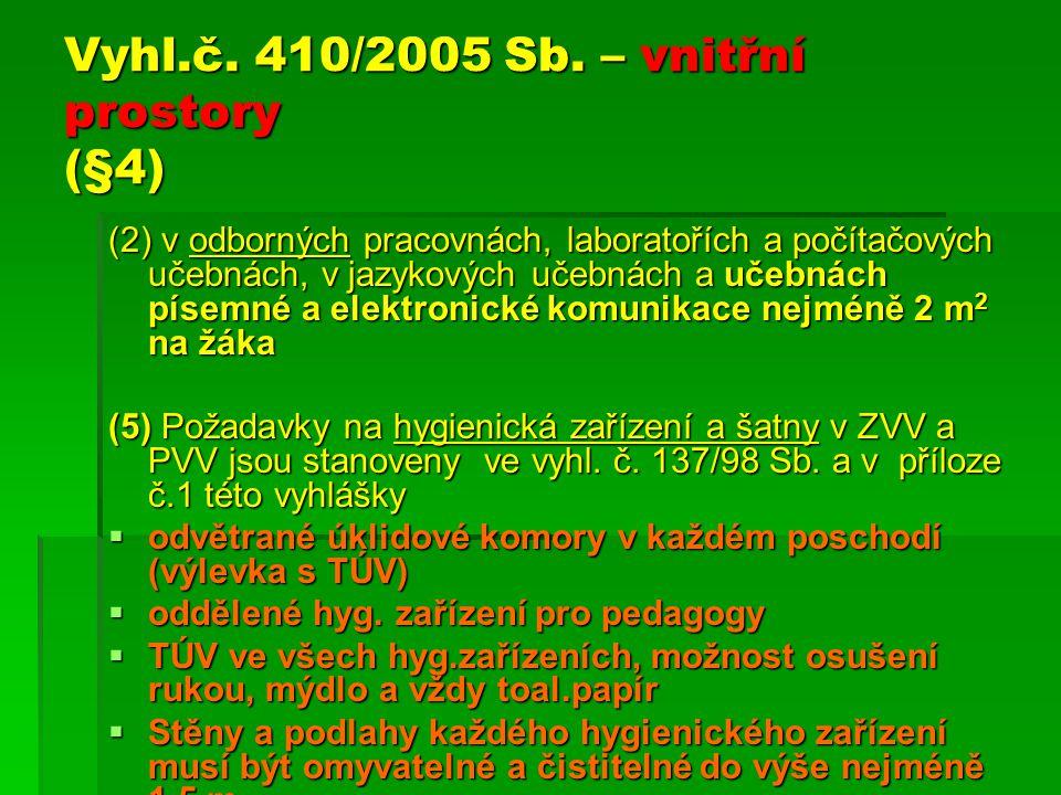 Vyhl.č. 410/2005 Sb. – vnitřní prostory (§4) (2) v odborných pracovnách, laboratořích a počítačových učebnách, v jazykových učebnách a učebnách písemn