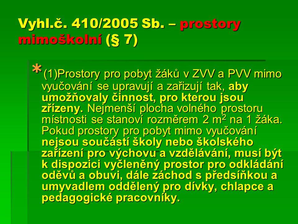 Vyhl.č. 410/2005 Sb. – prostory mimoškolní (§ 7) * (1)Prostory pro pobyt žáků v ZVV a PVV mimo vyučování se upravují a zařizují tak, aby umožňovaly či