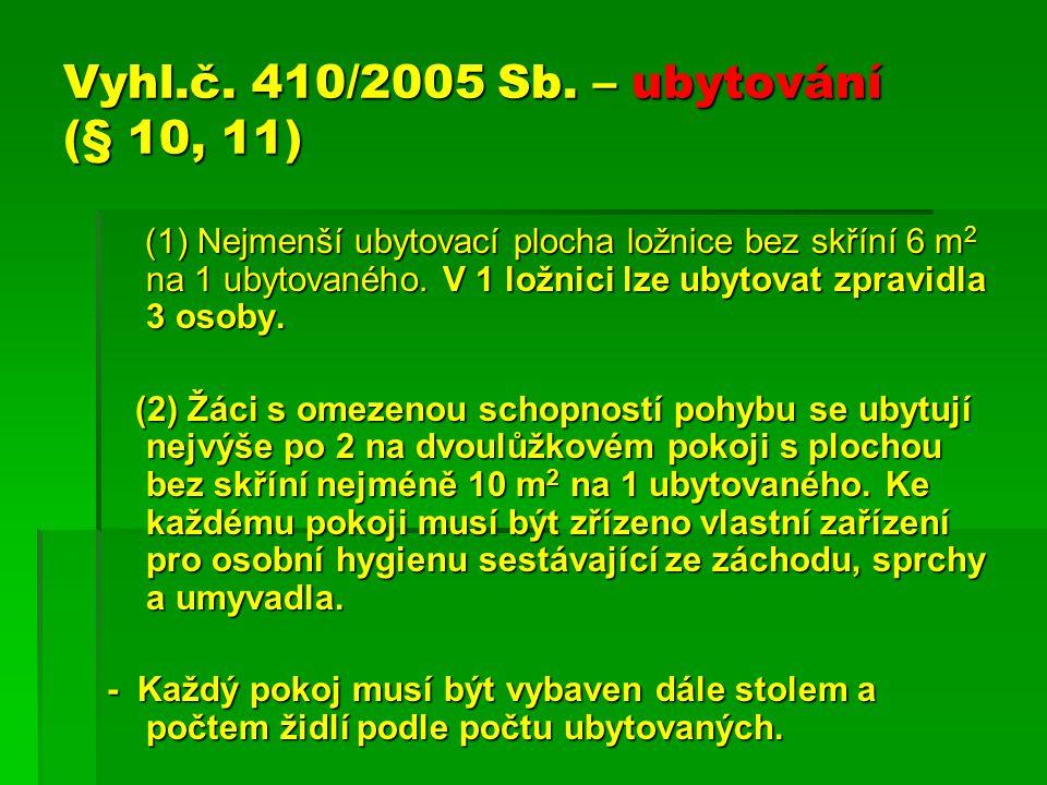 Vyhl.č. 410/2005 Sb. – ubytování (§ 10, 11) (1) Nejmenší ubytovací plocha ložnice bez skříní 6 m 2 na 1 ubytovaného. V 1 ložnici lze ubytovat zpravidl