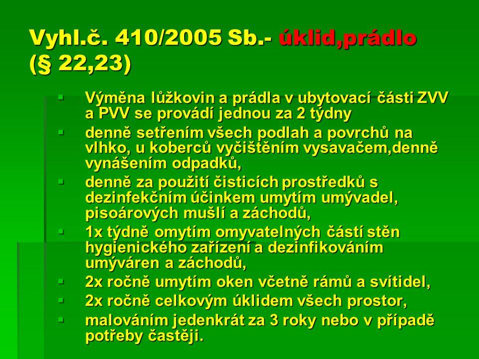 Vyhl.č. 410/2005 Sb.- úklid,prádlo (§ 22,23)  Výměna lůžkovin a prádla v ubytovací části ZVV a PVV se provádí jednou za 2 týdny  denně setřením všec